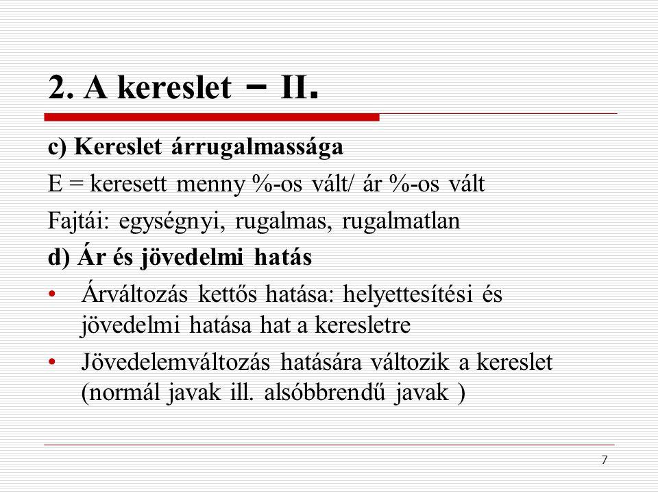 2. A kereslet – II. c) Kereslet árrugalmassága