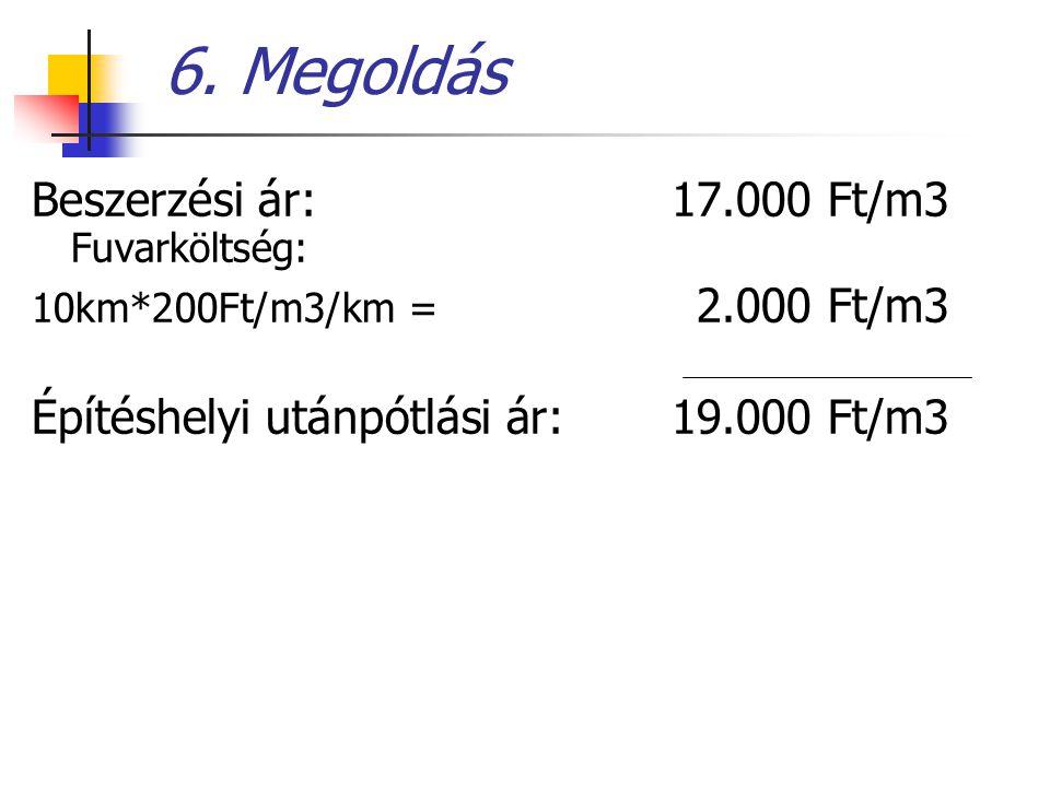 6. Megoldás Beszerzési ár: 17.000 Ft/m3 Fuvarköltség: