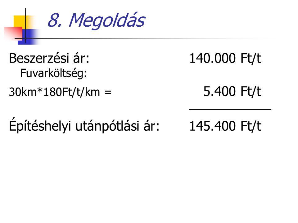 8. Megoldás Beszerzési ár: 140.000 Ft/t Fuvarköltség: