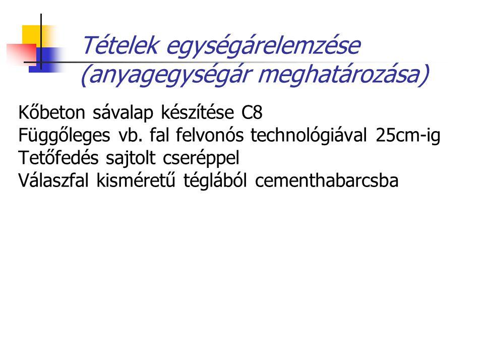 Tételek egységárelemzése (anyagegységár meghatározása)
