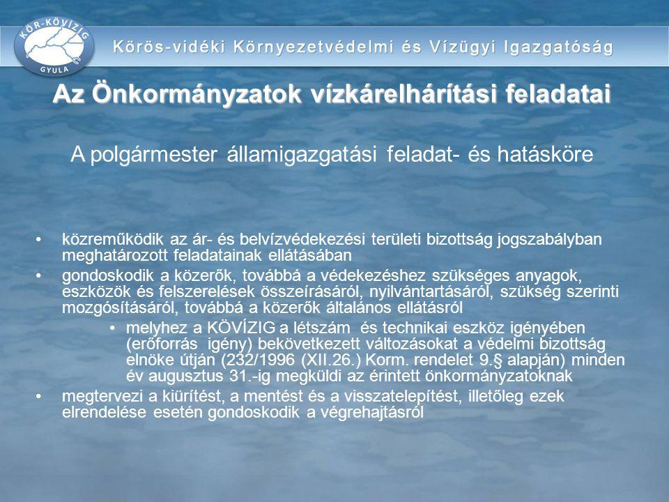 Az Önkormányzatok vízkárelhárítási feladatai A polgármester államigazgatási feladat- és hatásköre