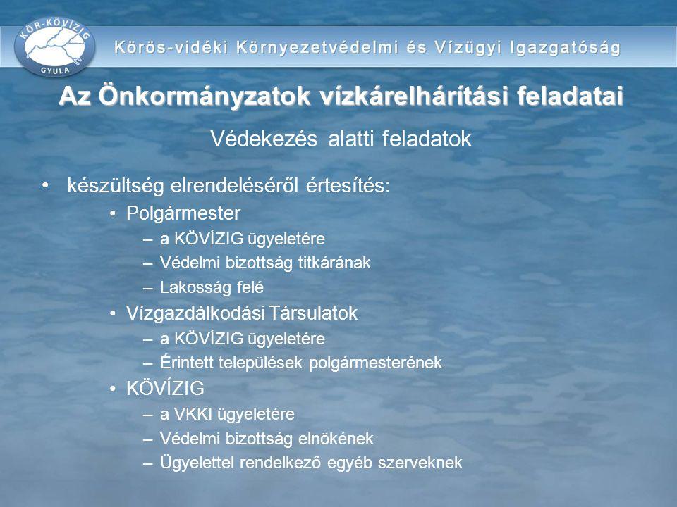 Az Önkormányzatok vízkárelhárítási feladatai Védekezés alatti feladatok
