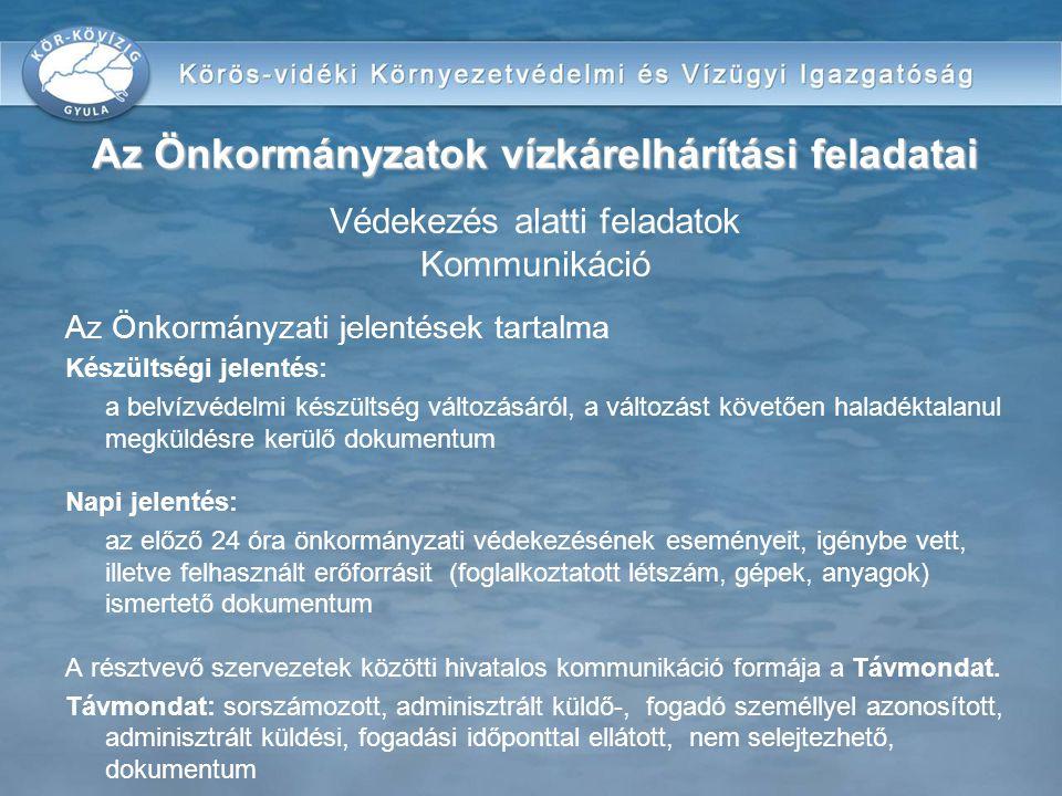 Az Önkormányzatok vízkárelhárítási feladatai Védekezés alatti feladatok Kommunikáció