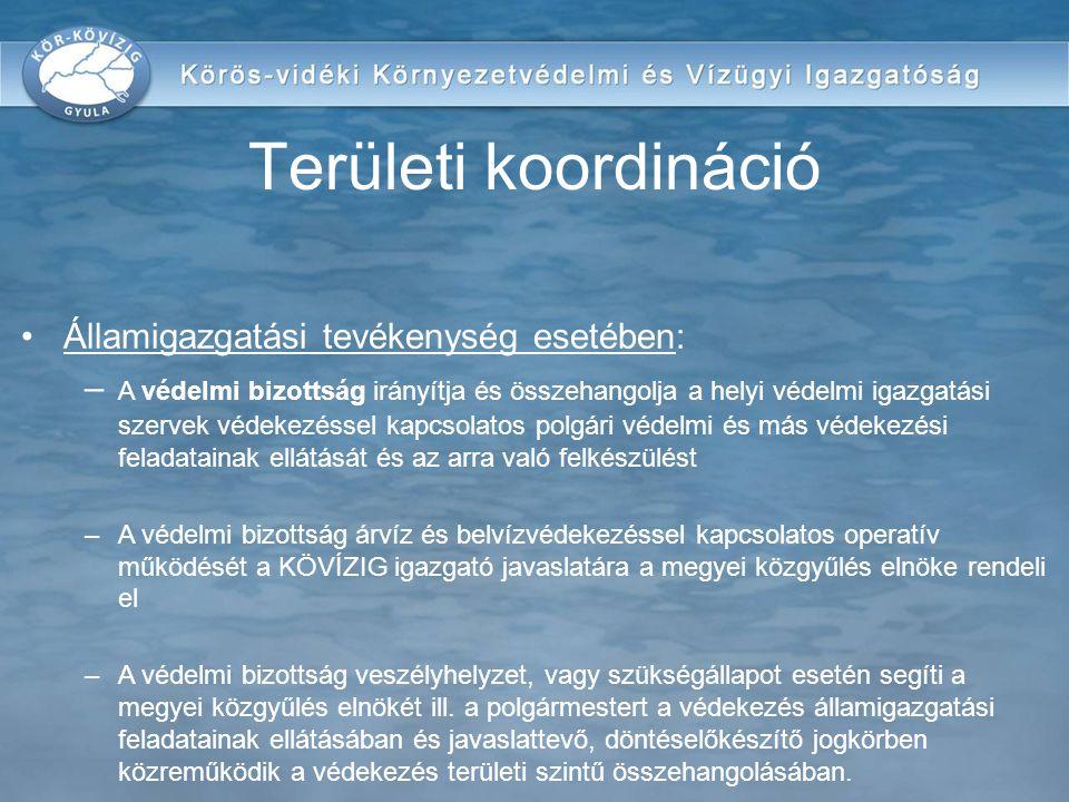 Területi koordináció Államigazgatási tevékenység esetében: