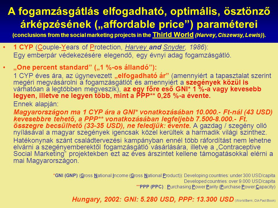 "A fogamzásgátlás elfogadható, optimális, ösztönző árképzésének (""affordable price ) paraméterei (conclusions from the social marketing projects in the Thirld World (Harvey, Ciszewsy, Lewis))."