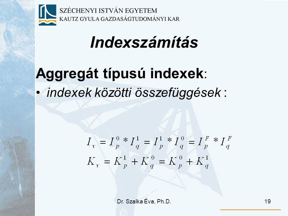 Indexszámítás Aggregát típusú indexek: indexek közötti összefüggések :