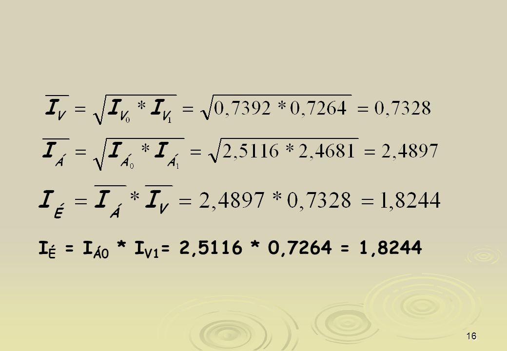 IÉ = IÁ0 * IV1= 2,5116 * 0,7264 = 1,8244
