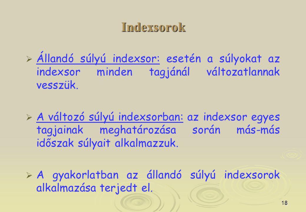 Indexsorok Állandó súlyú indexsor: esetén a súlyokat az indexsor minden tagjánál változatlannak vesszük.