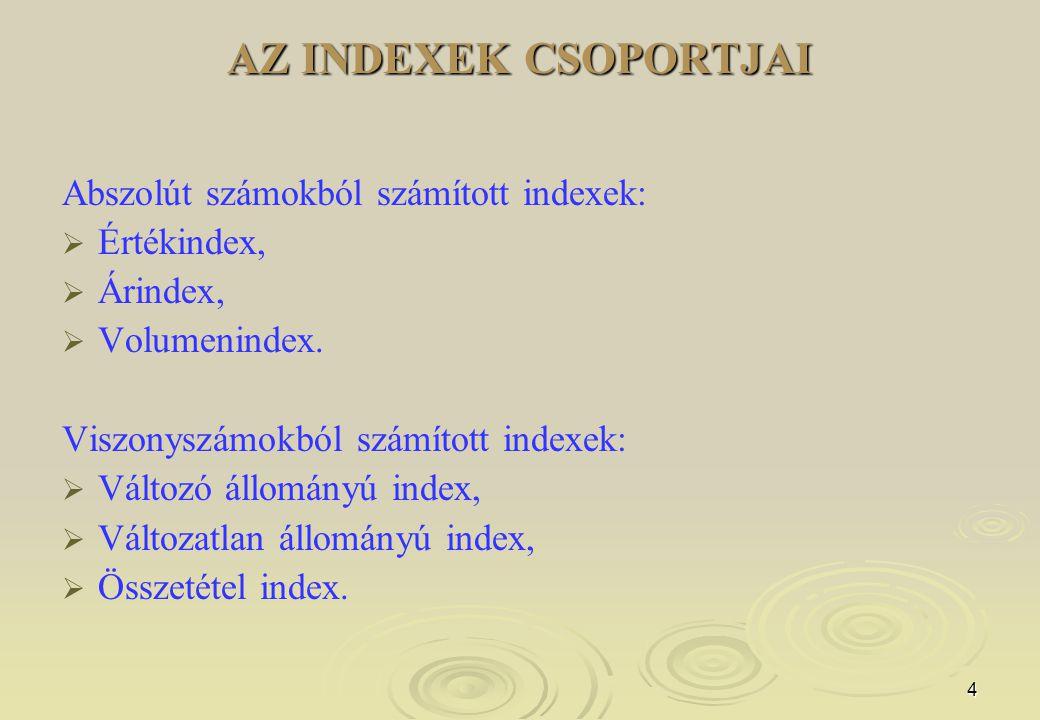 AZ INDEXEK CSOPORTJAI Abszolút számokból számított indexek: