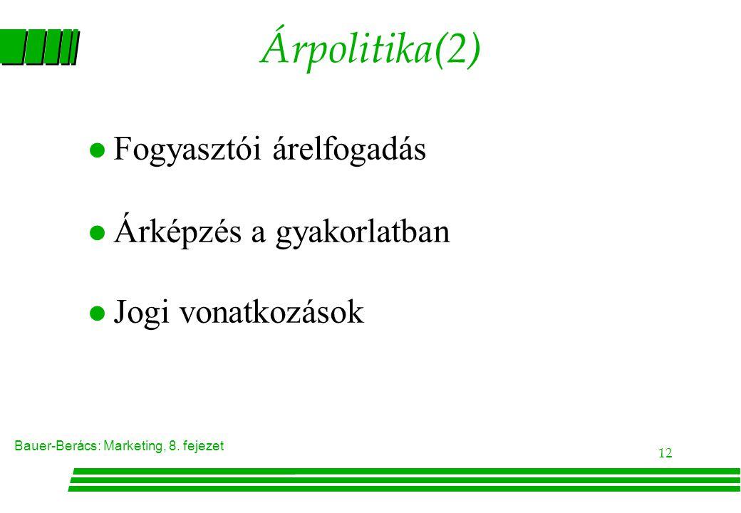 Árpolitika(2) Fogyasztói árelfogadás Árképzés a gyakorlatban