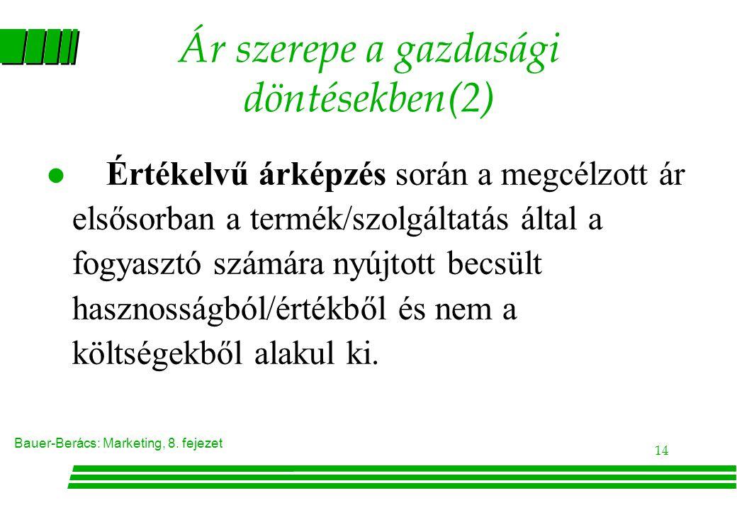 Ár szerepe a gazdasági döntésekben(2)