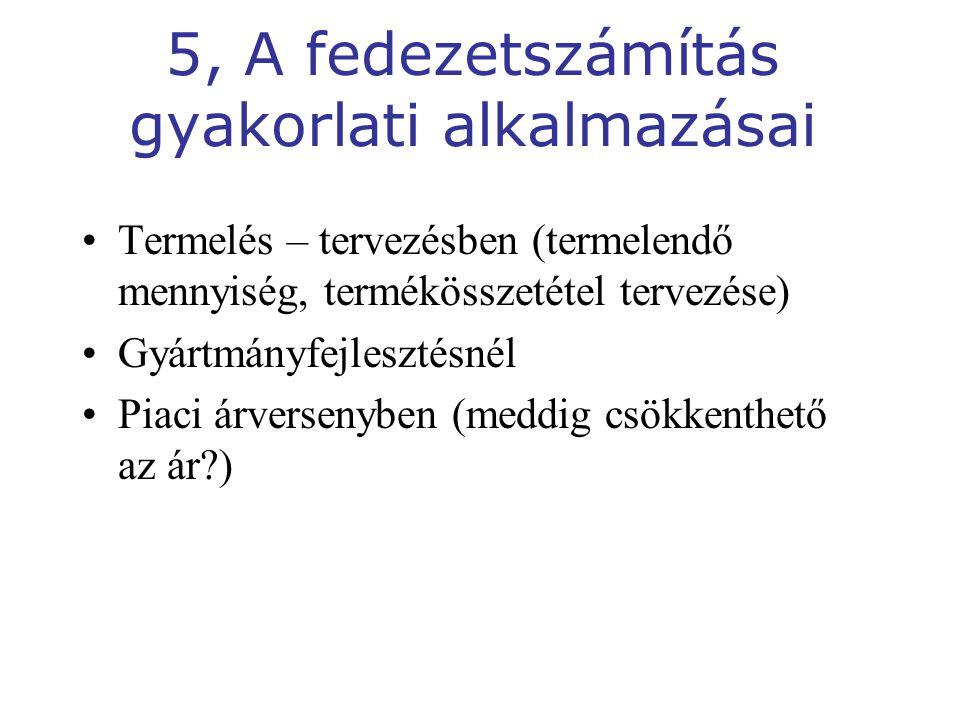 5, A fedezetszámítás gyakorlati alkalmazásai
