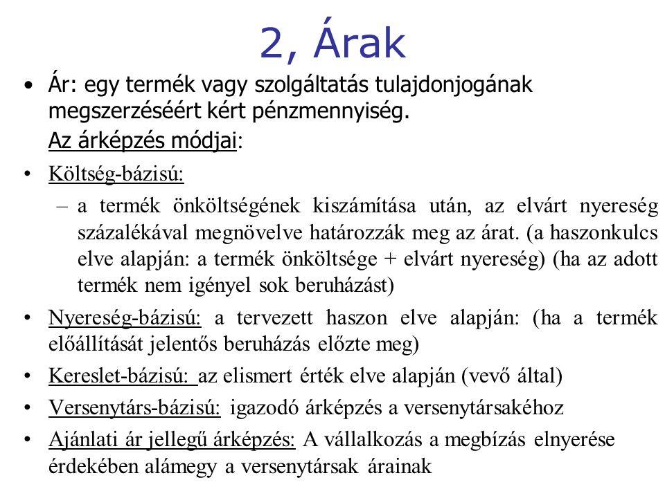 2, Árak Ár: egy termék vagy szolgáltatás tulajdonjogának megszerzéséért kért pénzmennyiség. Az árképzés módjai: