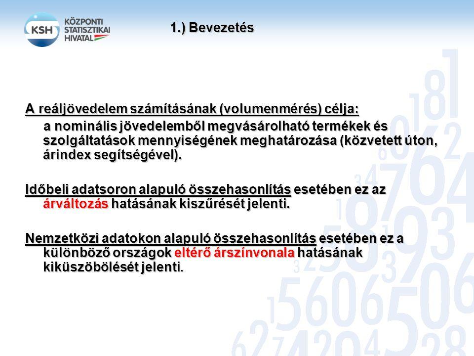 1.) Bevezetés A reáljövedelem számításának (volumenmérés) célja: