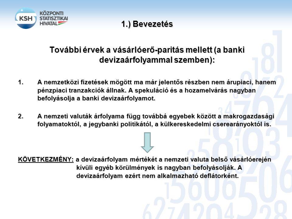 1.) Bevezetés További érvek a vásárlóerő-paritás mellett (a banki devizaárfolyammal szemben):