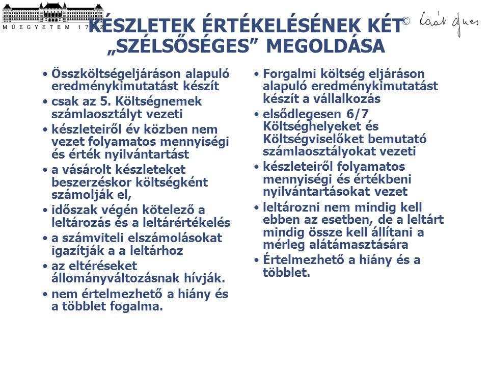 """KÉSZLETEK ÉRTÉKELÉSÉNEK KÉT """"SZÉLSŐSÉGES MEGOLDÁSA"""