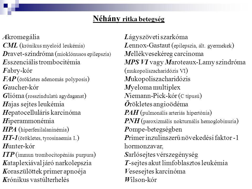 Néhány ritka betegség Akromegália CML (krónikus myeloid leukémia)