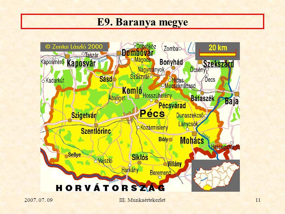 E9. Baranya megye 2007. 07. 09 III. Munkaértekezlet