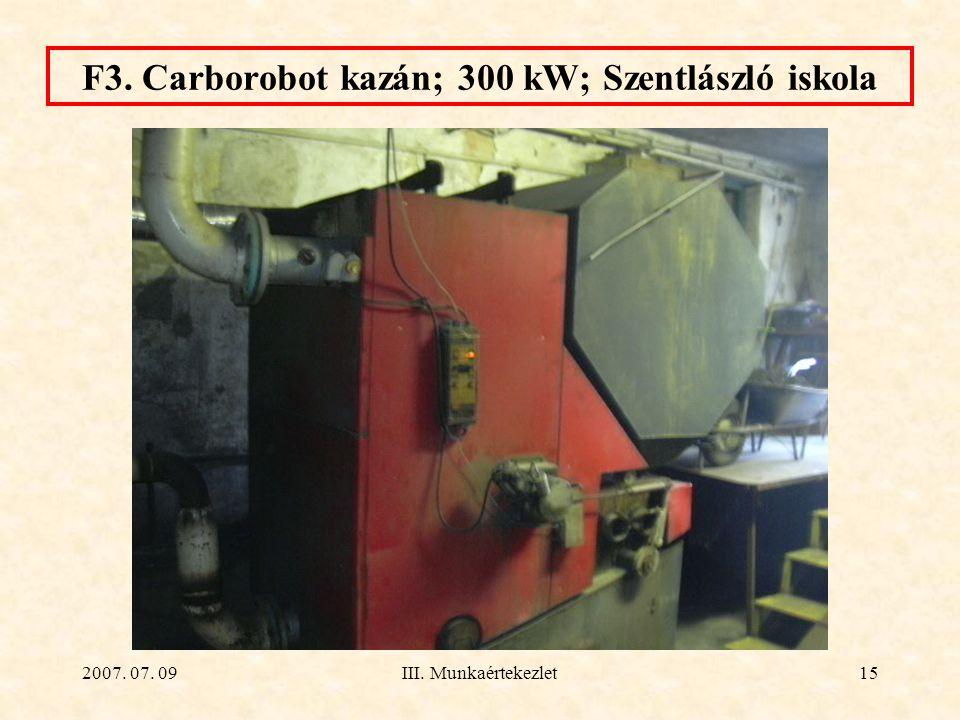 F3. Carborobot kazán; 300 kW; Szentlászló iskola