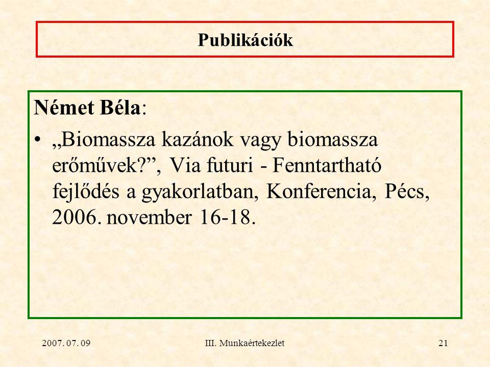 Publikációk Német Béla: