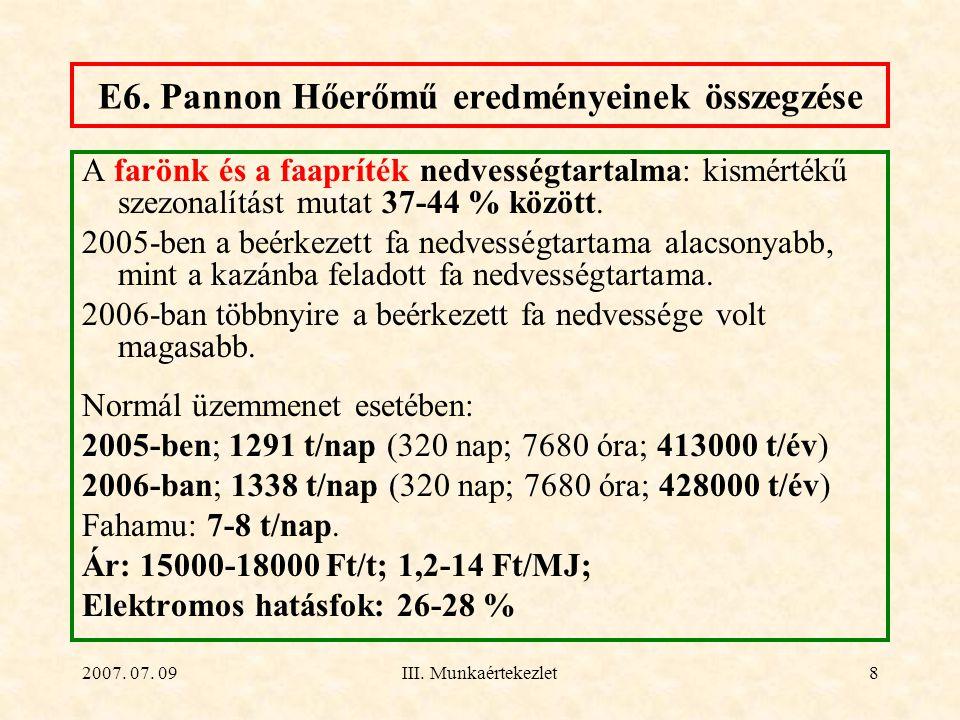 E6. Pannon Hőerőmű eredményeinek összegzése