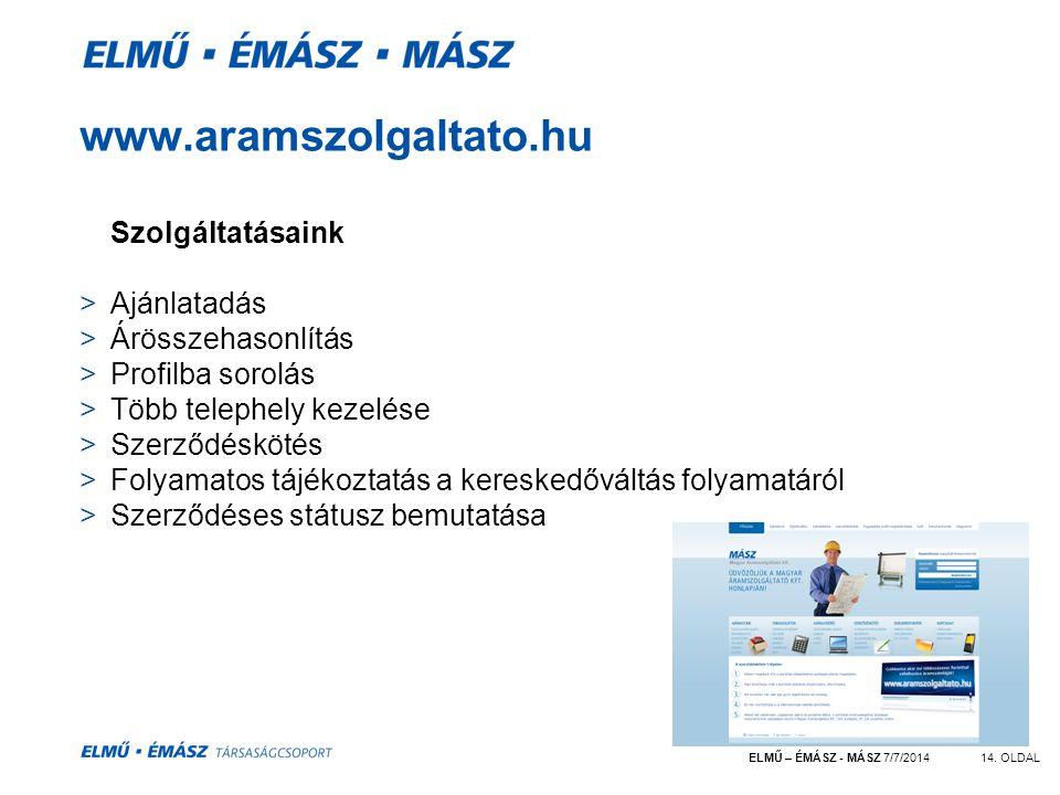 www.aramszolgaltato.hu Szolgáltatásaink Ajánlatadás Árösszehasonlítás