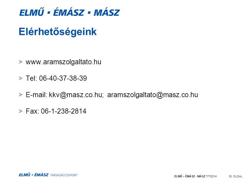 Elérhetőségeink www.aramszolgaltato.hu Tel: 06-40-37-38-39