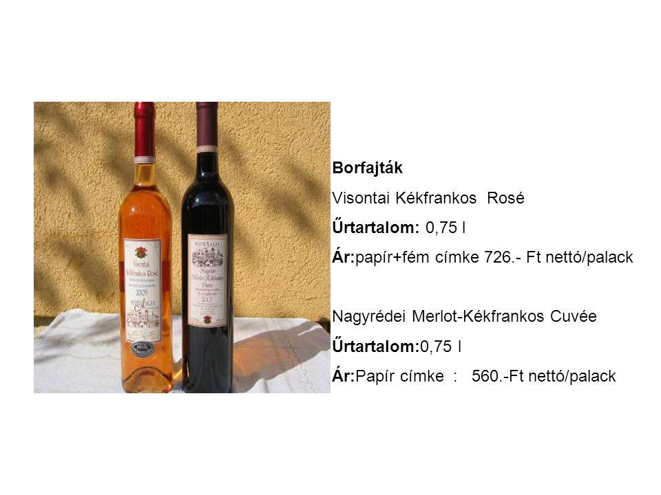 Borfajták Visontai Kékfrankos Rosé. Űrtartalom: 0,75 l. Ár:papír+fém címke 726.- Ft nettó/palack.