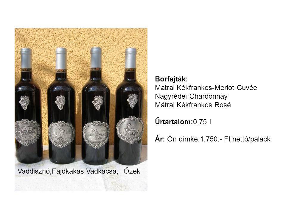 Borfajták: Mátrai Kékfrankos-Merlot Cuvée. Nagyrédei Chardonnay. Mátrai Kékfrankos Rosé. Űrtartalom:0,75 l.