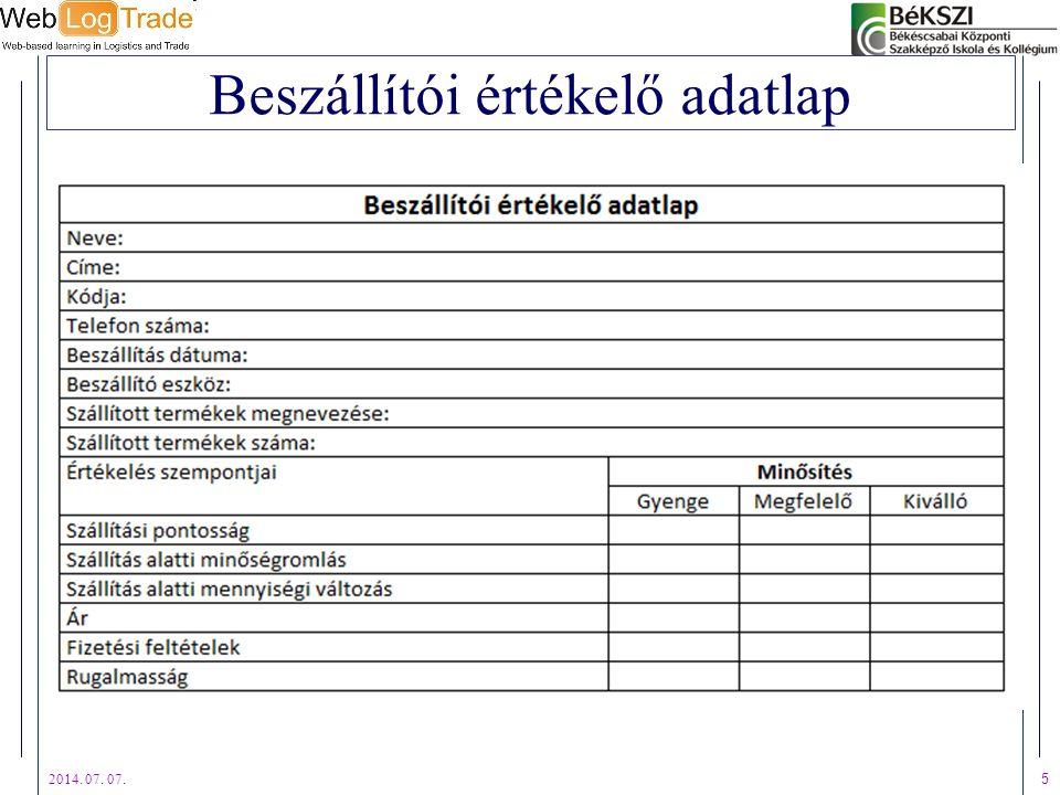 Beszállítói értékelő adatlap