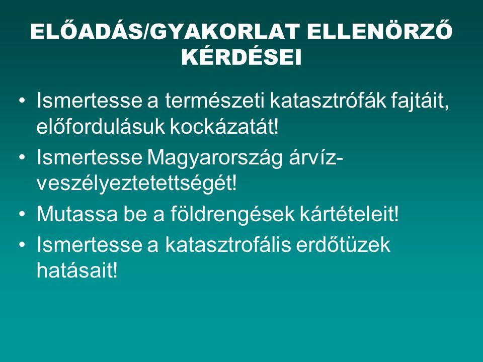 ELŐADÁS/GYAKORLAT ELLENÖRZŐ KÉRDÉSEI
