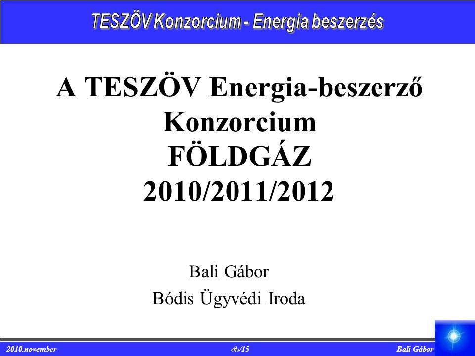 A TESZÖV Energia-beszerző Konzorcium FÖLDGÁZ 2010/2011/2012