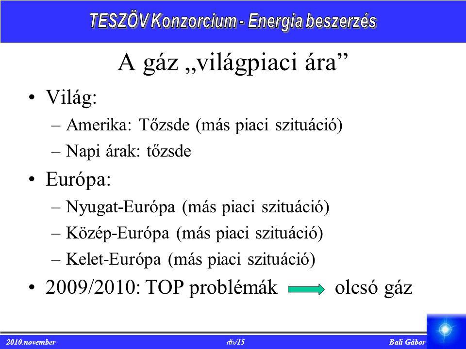 """A gáz """"világpiaci ára Világ: Európa:"""