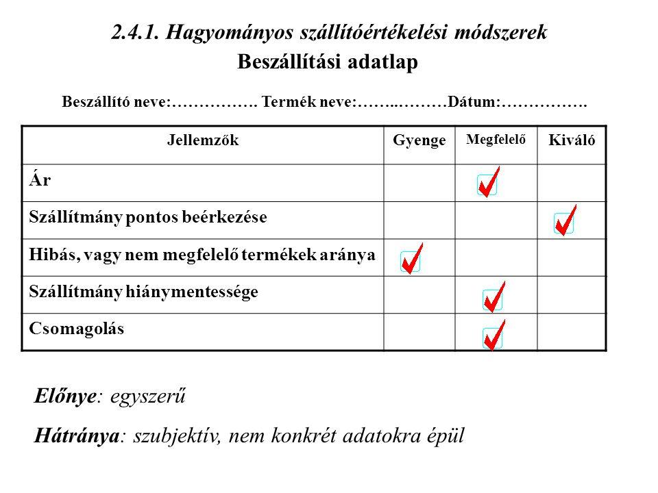 2.4.1. Hagyományos szállítóértékelési módszerek