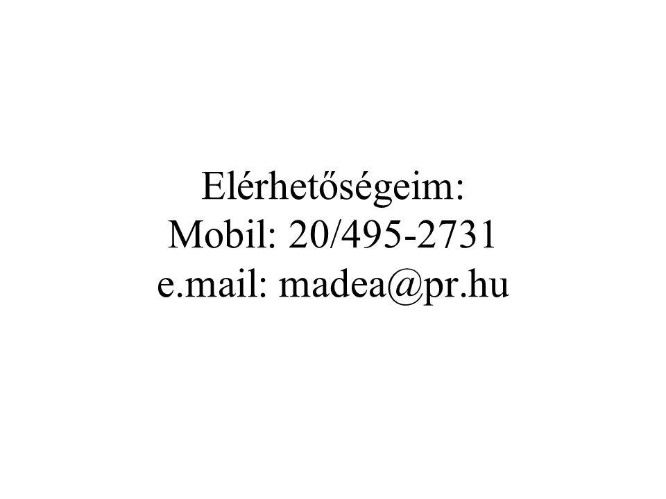 Elérhetőségeim: Mobil: 20/495-2731 e.mail: madea@pr.hu