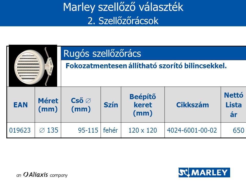 Marley szellőző választék 2. Szellőzőrácsok