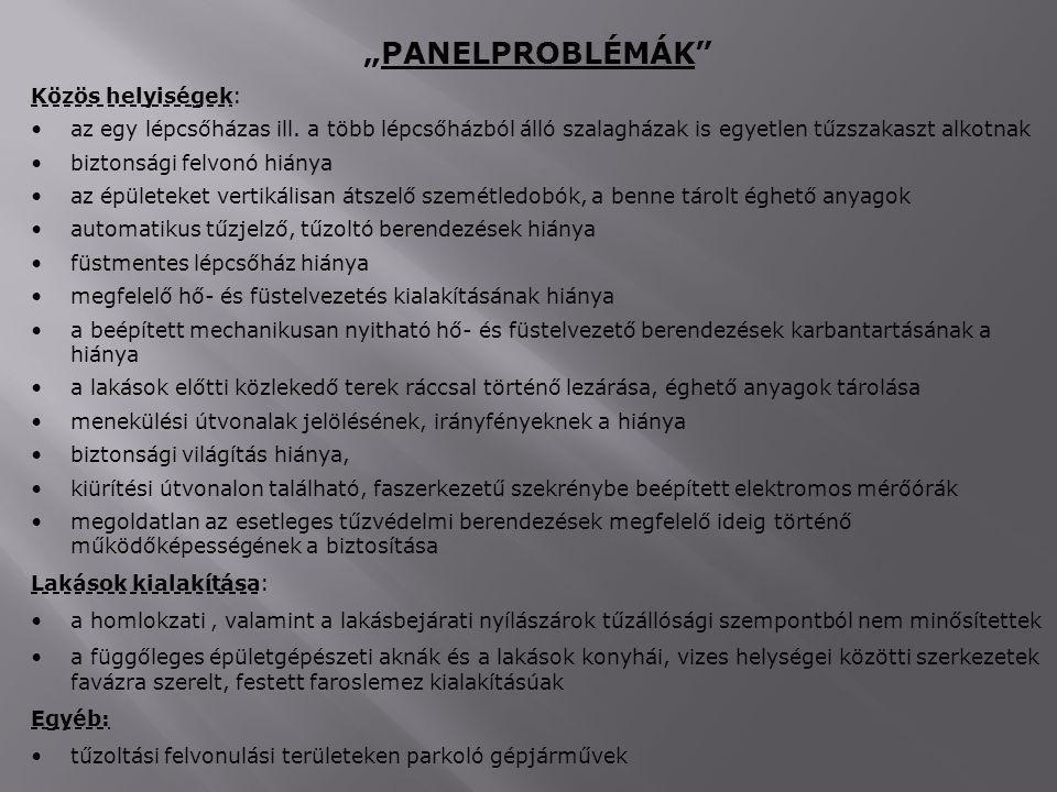 """""""PANELPROBLÉMÁK Közös helyiségek:"""