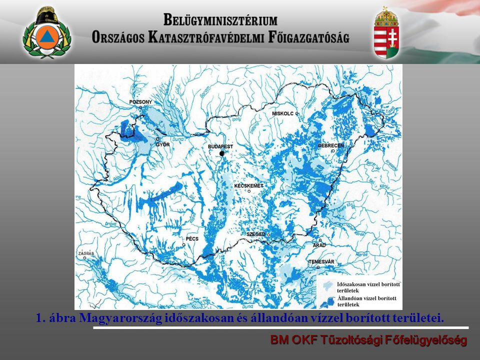 1. ábra Magyarország időszakosan és állandóan vízzel borított területei.