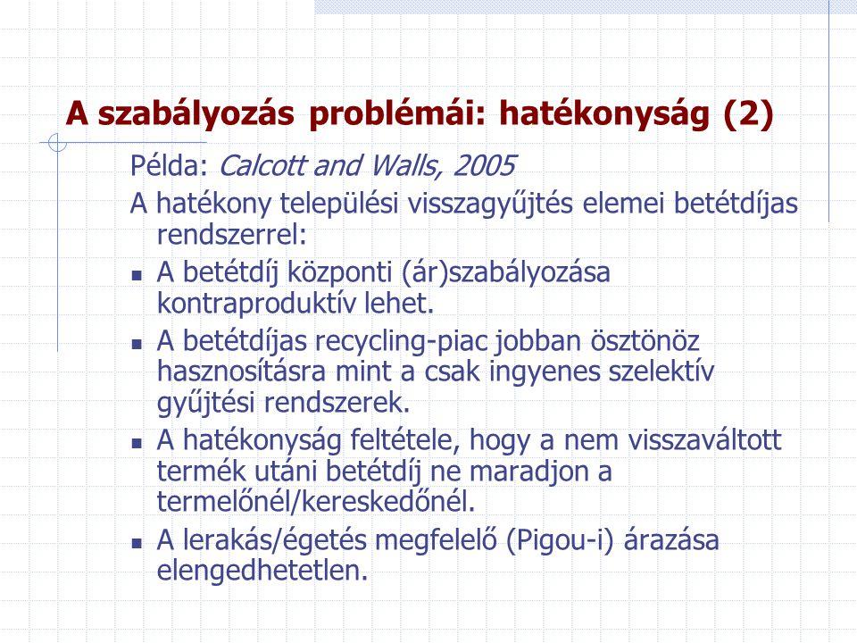 A szabályozás problémái: hatékonyság (2)