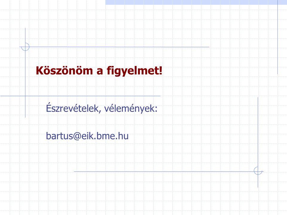 Észrevételek, vélemények: bartus@eik.bme.hu