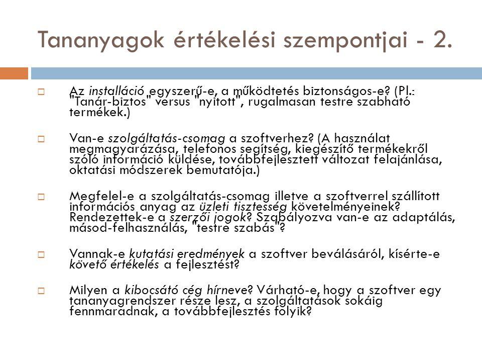 Tananyagok értékelési szempontjai - 2.