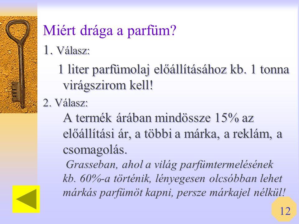 Miért drága a parfüm 1. Válasz: