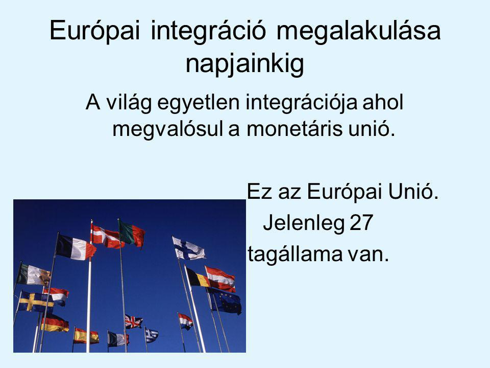 Európai integráció megalakulása napjainkig