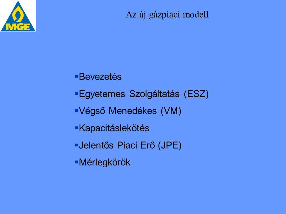 Az új gázpiaci modell Bevezetés. Egyetemes Szolgáltatás (ESZ) Végső Menedékes (VM) Kapacitáslekötés.