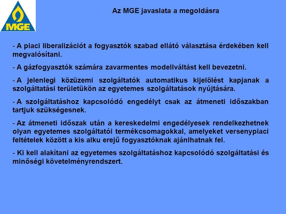 Az MGE javaslata a megoldásra
