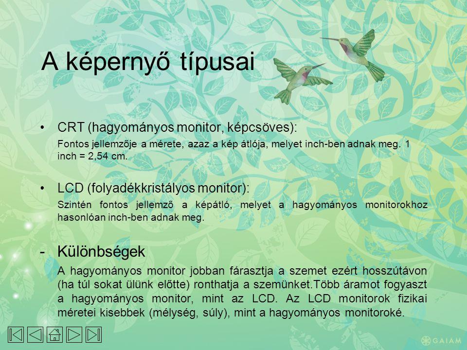 A képernyő típusai - Különbségek CRT (hagyományos monitor, képcsöves):