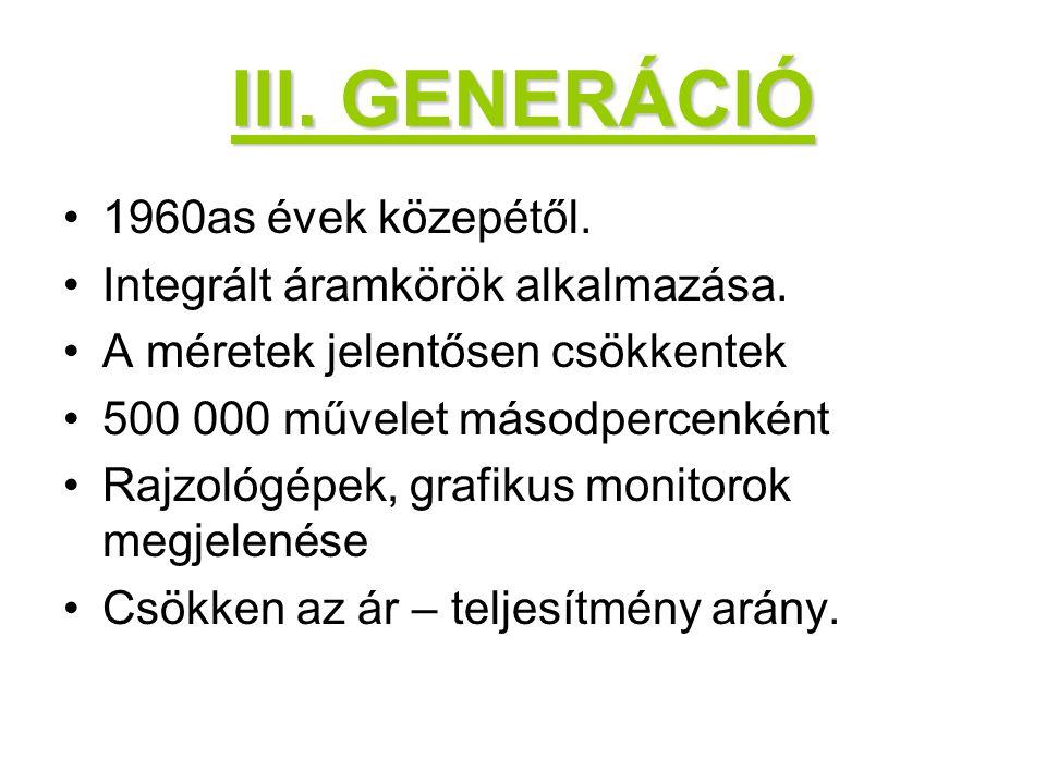 III. GENERÁCIÓ 1960as évek közepétől. Integrált áramkörök alkalmazása.