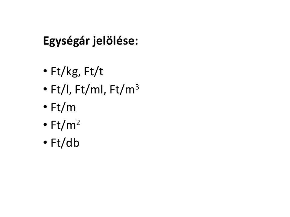 Egységár jelölése: Ft/kg, Ft/t Ft/l, Ft/ml, Ft/m3 Ft/m Ft/m2 Ft/db