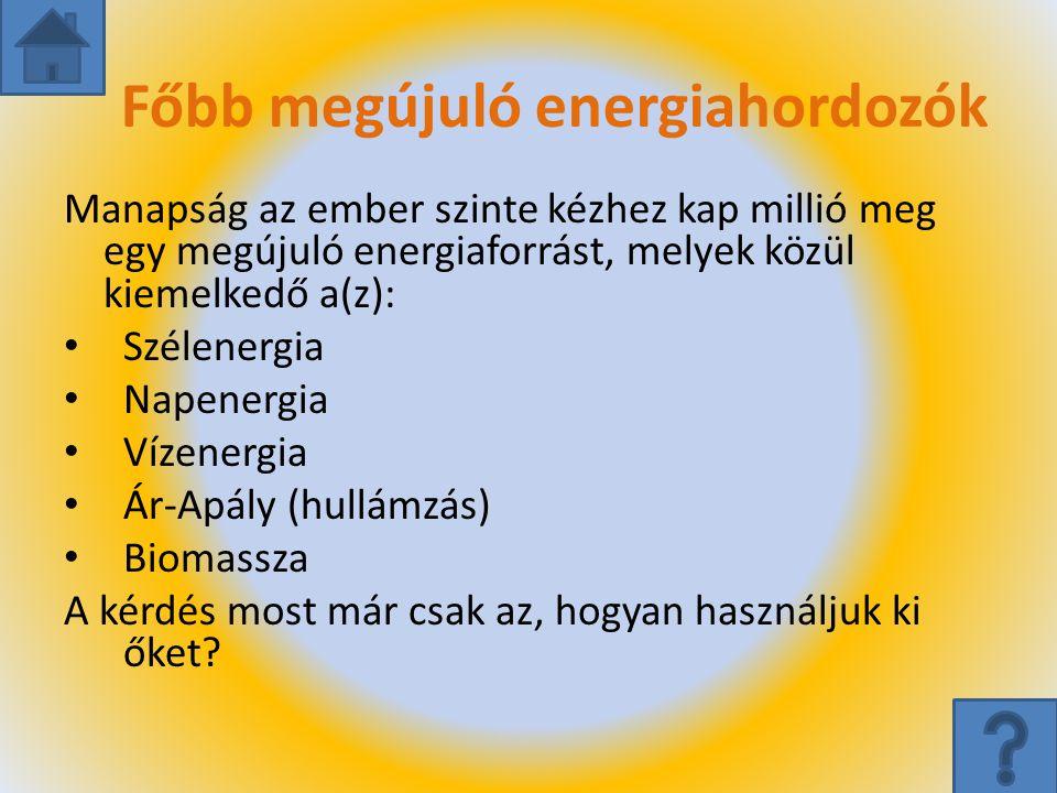 Főbb megújuló energiahordozók