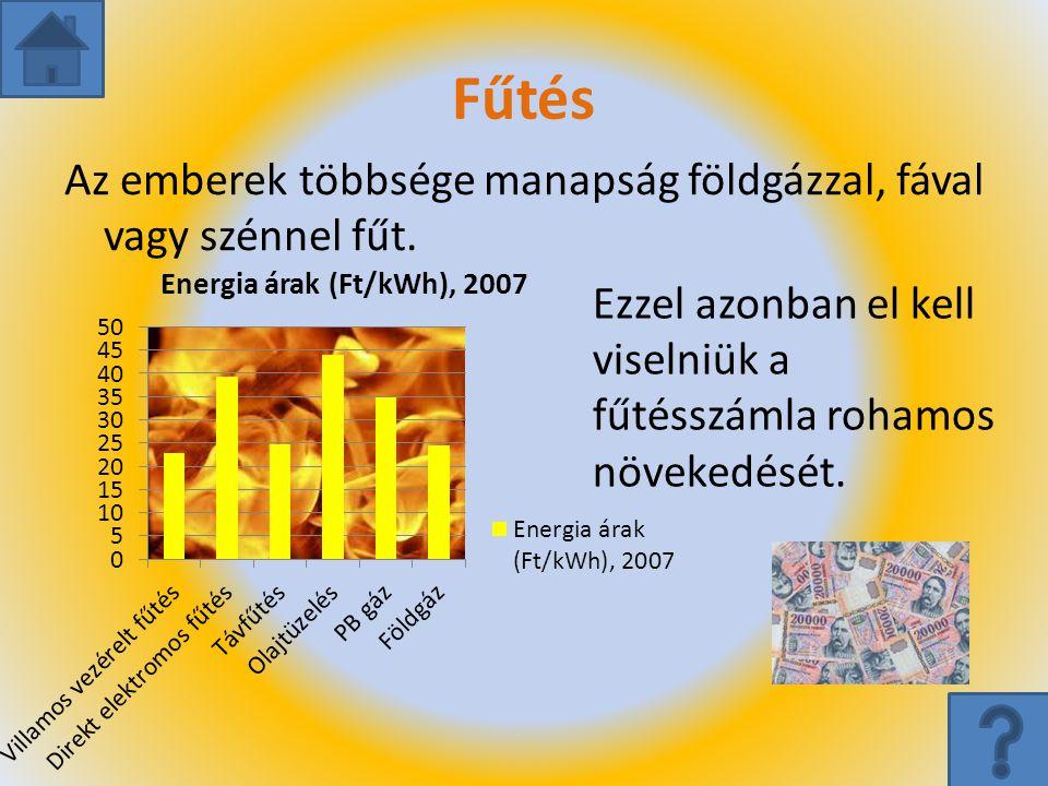 Fűtés Az emberek többsége manapság földgázzal, fával vagy szénnel fűt.